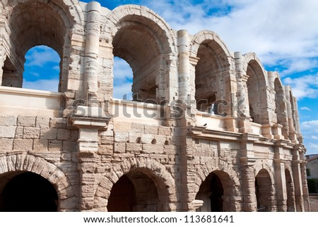 Ancient Roman amphitheater in Arles, France - stock photo
