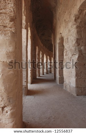 Ancient Roman Amphitheatre in El-Jem, Tunisia (UNESCO World Heritage) - stock photo