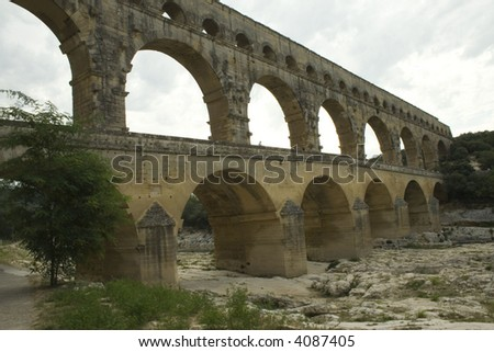 Ancient Roman aquaduct  the Pont du Gard in the south of France