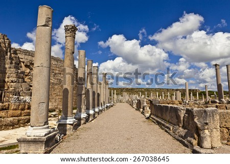 Ancient Roman archeological site of Perge in Turkey. - stock photo