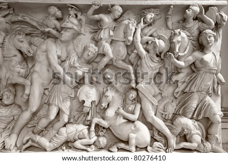 Ancient roman bas-relief of the Museum of Vatican. Rome, Italy - stock photo