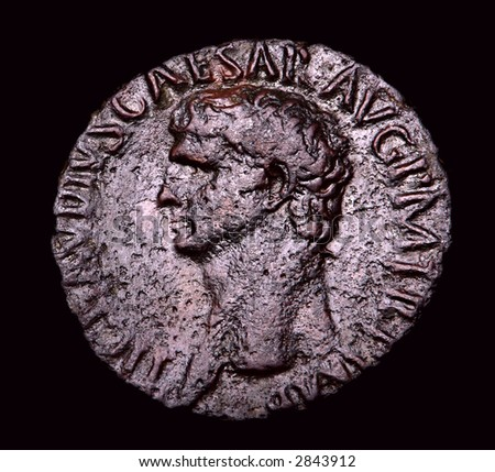Ancient Roman Bronze Coin Agrippa - stock photo