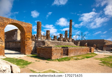 ancient Roman city of Pompeii, which was destroyed and buried by ash during the eruption of Mount Vesuvius in 79 ad - stock photo