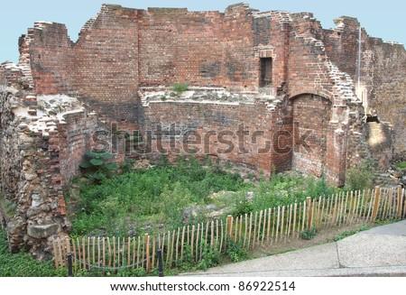 Ancient Roman City Wall ruins, London, UK - stock photo
