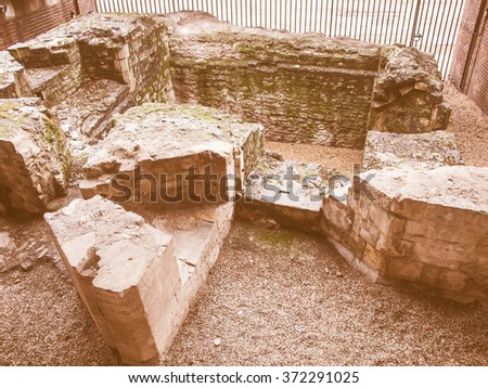 Ancient Roman City Wall ruins London UK vintage - stock photo