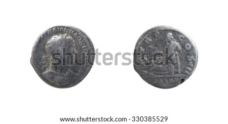 Ancient Roman coin Silver Denarius - stock photo