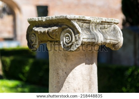 Ancient Roman column in the ruins of the Baths of Diocletian in Rome, Italy - stock photo