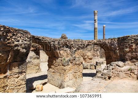 Ancient Roman Empire ruins of Carthage in near the sea in Tunisa - stock photo