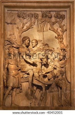 Ancient Roman Marcus Aurelius Sculpture Capitoline Museum Rome Italy - stock photo