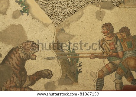 Ancient Roman Mosaic in Mosaic Museum,istanbul,Turkey. - stock photo