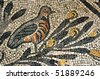 Ancient roman mosaic of a partrige perched on a branch in the UNESCO golden mosaic floor of Aquileia basilica - stock photo