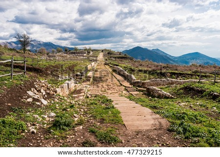 Ancient roman road in Norba, ancient roman town in Lazio, Italy