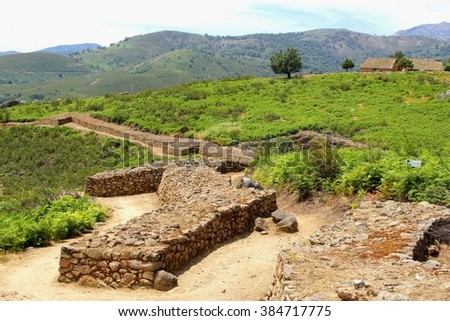 Ancient Roman ruins in el Raso, an archaeological site near Candeleda in the Sierra de Gredos National Park, Spain. In Castile Leon, province Avila - stock photo