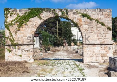 Ancient Roman ruins of Hippodrome and Necropolis in Tyre, Lebanon - stock photo