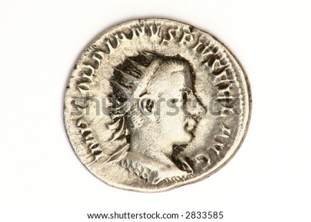 Ancient Roman silver denarius coin of Gordian III who ruled 238-244AD. - stock photo