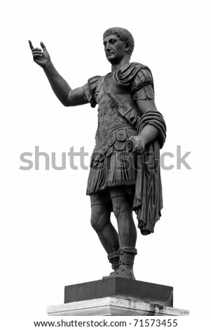 Ancient Roman Statue Isolated On White Background - stock photo