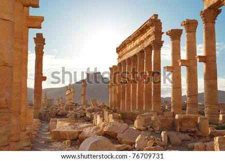 Ancient Roman time town in Palmyra, Syria - stock photo