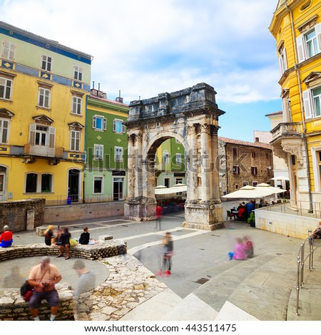 Ancient Roman Triumphal Arch in Pula, Croatia - stock photo
