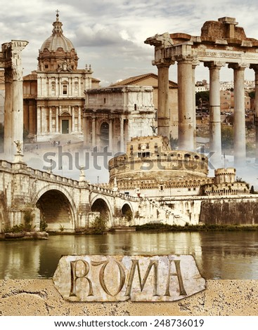 Ancient Rome - conceptual collage in retro style - stock photo