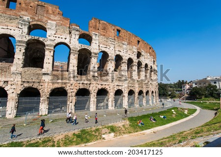 Ancient Rome ruines on bright summer day - stock photo