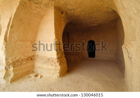 Ancient rooms carved into the rock. Avdat National Park World Heritage Sate. Israel. - stock photo