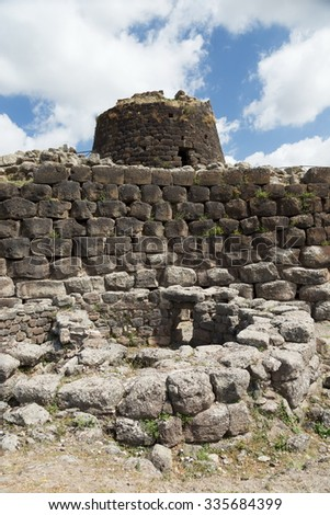ancient ruin in sardenia island - stock photo