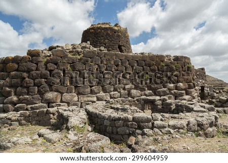 ancient ruin in sardinia island - stock photo