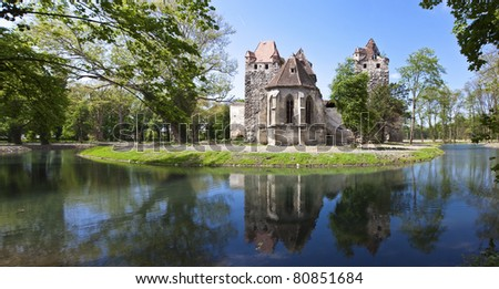 Ancient ruin of the castle Pottendorf- Austria. The castle was built in 1130 and has romanesque, gothic and baroque elements. Most of the time it was in the possession of the famed Esterhazy family.