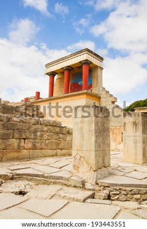 ancient ruines of Knossos palace at Crete, Greece - stock photo