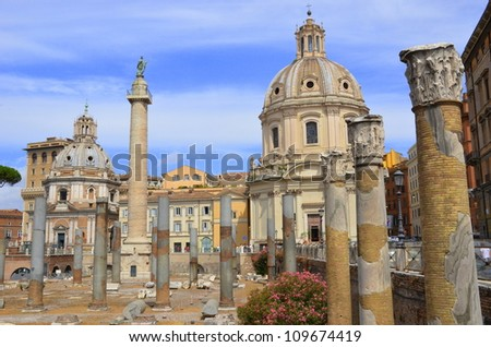 Ancient ruins and temple in Rome - stock photo