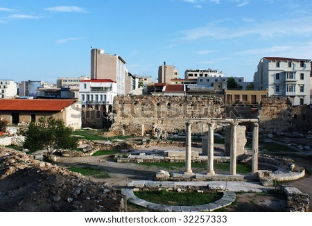 Ancient ruins, archaeological site in the middle of Athens city, Greece.