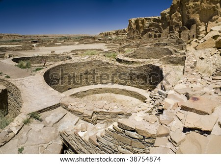 Ancient Ruins at Chaco Canyon, New Mexico - stock photo