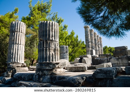 Ancient ruins, columns of  Temple of Athena in Priene, Turkey - stock photo