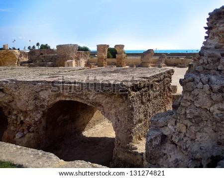 Ancient ruins in Carthage, Tunisia.