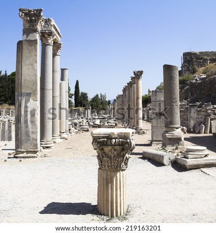Ancient ruins in Ephesus Turkey - - stock photo