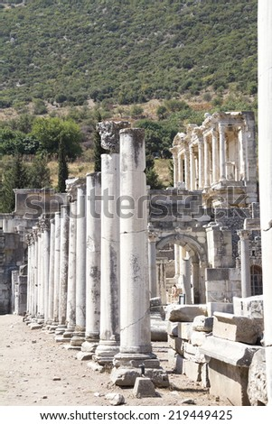 Ancient ruins in Ephesus Turkey, Celsus Library  in the background - stock photo