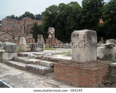 Ancient Ruins in Italy - stock photo