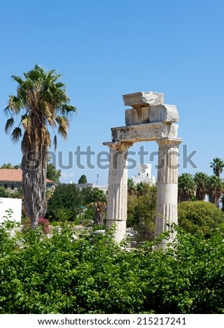 Ancient ruins in Kos island, Greece, Old ancient building fragment in Kos city, Kos island, Greece, old aged ruins, antiq period, greek building from antiq period, roman ages, roman arch - stock photo