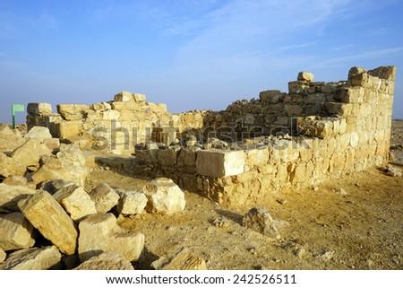 Ancient ruins in Negev desert in Israel                                - stock photo