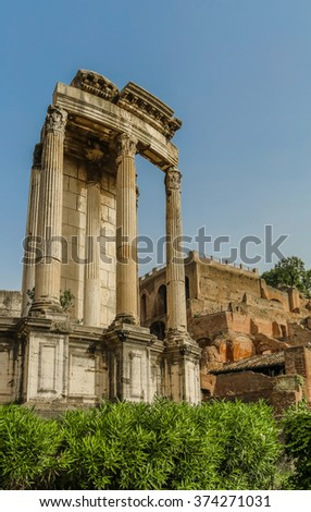 Ancient ruins in Roman Forum, Rome, Italy. Colonnade and historical monuments - stock photo