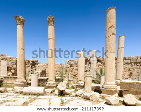 Ancient Ruins in the ancient city of Jerash (Gerasa of Antiquity),