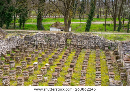 Ancient ruins in the Dion Archeological Site in Greece - stock photo
