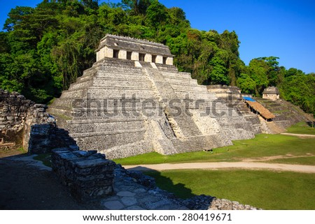 Ancient ruins in the Mayan city of Palenque Chiapas, Mexico. Inscription Temple. - stock photo