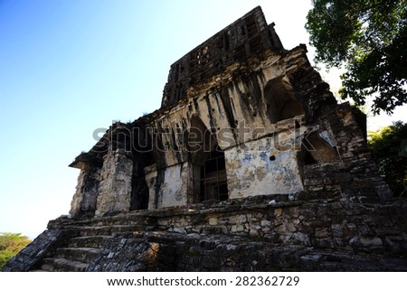 Ancient ruins in the Mayan city of Palenque Chiapas, Mexico. Kan B'ahlam II - stock photo