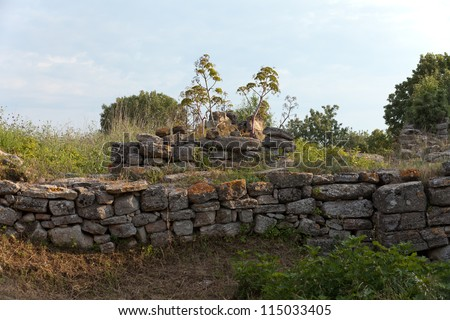 Ancient ruins in Troy.  Turkey - stock photo