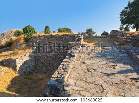 Ancient ruins in Troy Turkey - travel background - stock photo