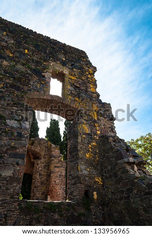 Ancient ruins near the lighthouse in Colonia del Sacramento, Uruguay - stock photo