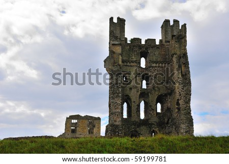 Ancient ruins of an abbey in North Yorkshire, England.