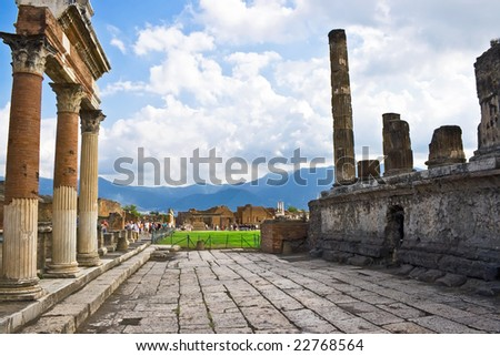 Ancient ruins of an old roman city Pompeii, Italy