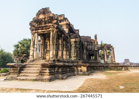 Ancient ruins of Angkor Wat in Siem Reap, Cambodia. Archaeological historic buildings in South East Asia.  - stock photo
